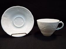 Set of (4) Coalport Sevres White Cups & Saucers