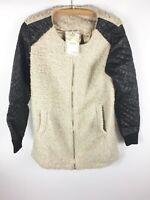 Womens Ladies Beige Faux Fur Faux Leather Zip Winter Jacket Coat Size M/L New