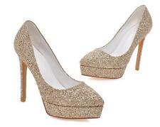 Stiletto Zapatos de Salón Elegantes Mujer Novia Perno Plataforma 12CM Oro 8538