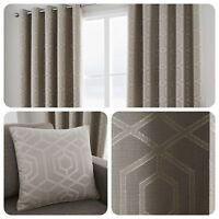 Curtina - CAMBERWELL Stone - Geometric Jacquard Eyelet Curtain & Cushions