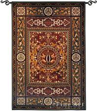 """BAROQUE FRENCH MEDALLION CREST RENAISSANCE PATTERN 53x75"""" TAPESTRY WALL HANGING"""