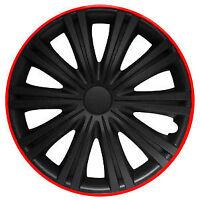 "BRAND NEW CAR 15"" GIGA BLACK AND RED WHEEL TRIMS / HUB CAPS FULL SET OF 4"