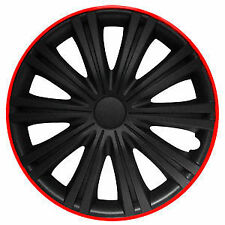 "BRAND NEW CAR 16"" GIGA BLACK AND RED WHEEL TRIMS / HUB CAPS FULL SET OF 4"