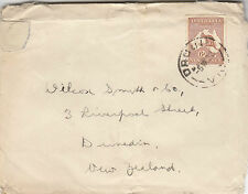 Kangaroo stamp 6d brown small multi watermark on cover Drouin Victoria to NZ
