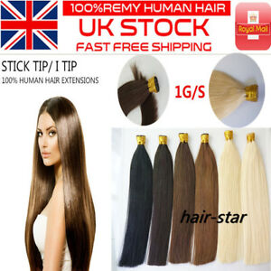 """14""""-24"""" 7A* Stick/I-Tip Double Drawn Indian Remy Human Hair Extensions 1G UK 1st"""