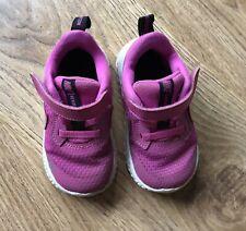 Baby girls Nike Revolution pink textile hook and loop trainers uk 5.5 eur 22