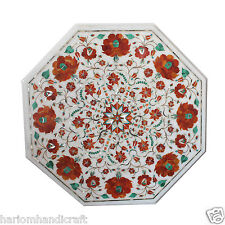 """12""""x12"""" Marble Coffee Table Top Carnelian Inlay Marquetry Floral Art Decor H1833"""