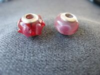 Vintage silvered metal lampwork glass hearts & dots beads for jewelry making