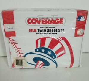New Sports Coverage 3 Piece Twin Sheet Set  NEW YORK YANKEES 100% Cotton Knit
