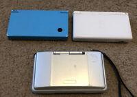 Nintendo DS Lot- 3 Consoles DSi Lite White Blue Silver Untested