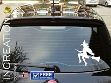 Witch Car Decal Girl Flying Broom Vinyl Sticker Graphics Halloween window bumper