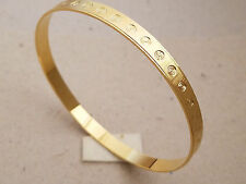 Lady's Bangle Bracelet Set of 3 Yellow Gold Plated Aros 6mm Wide 2 5/8 Diameter