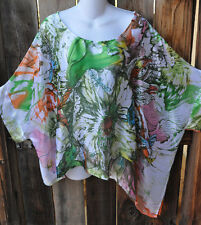 ARTIST HAND PAINTED SPRING GARDEN SILK ART TO WEAR TUNIC BY SIMPLY SILK,OS!