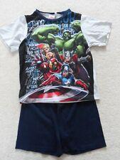 Marvel Avengers Boy's Pyjamas multi-coloured t-shirt top & blue shorts 7-8 years