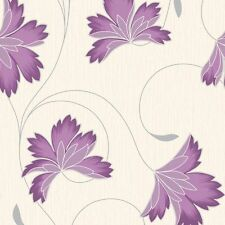 Flourish Plum Purple Silver Shiney Flower Crown Feature DESIGNER Wallpaper M0626