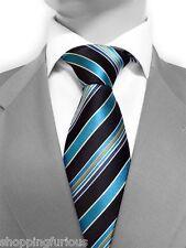 Cravate Luxe Marque Française en SOIE Bleu  French Brand Silk Necktie Blue Black