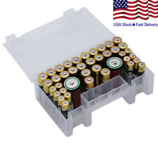 Clear Plastic Battery Organizer Case Holder Box Container  40PC AA AAA C Battery