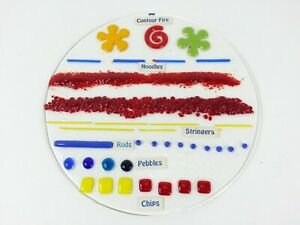 Vintage Art Glass Display Fused Glass Example Contour Fire Noodle Rod Chip