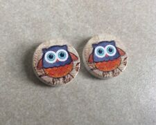 Wooden cabochons, 16mm, 2pcs, Super Cute Owls, Jewellery Making, Crafts