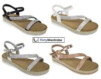 Wedge Sandals Diamante Espadrilles Ankle Strap Summer Holiday Shoes Size Womens