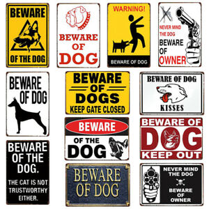 Beware Of The Dog Metal Tin Sign Vintage Wall Decor For Home Bar Hotel Souvenirs