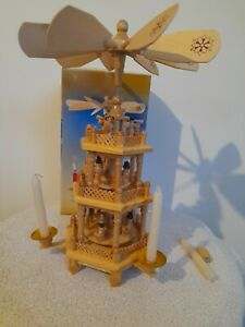 Weihnachts Christmas nativity wooden pyramid 3 tier windmill carousel vintage
