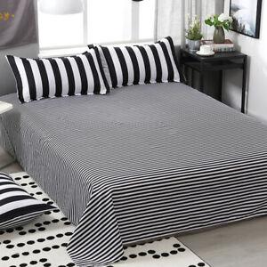 "Cotton Blend Stripes Printed Black&White Color Flat Sheet Only Twin Size 63""X90"""