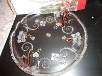 "VINTAGE MIKASA MERRIMENT CRYSTAL HOLIDAY CHRISTMAS SERVICE PLATE PLATTER 12 1/4"""