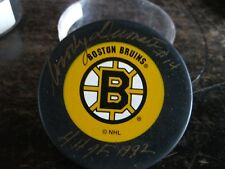 Woody Dumart #14  Signed Hockey Puck