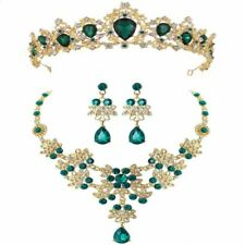 Bridal Jewelry Sets Vintage Gold Red Green Blue Crystal Necklace Earrings Tiaras