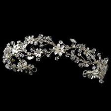 Headpiece #7902 Rhodium Clear Swarovski Crystal & Rhinestone Headband