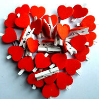 DIY Mini Wooden Love Heart Pegs Wedding Photo Paper Pin Wood Clips Decor Craft