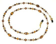 Austria Crystal Topaz Tortoise Copper Pearl Eyeglass Chain Holder