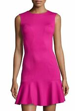 NWT Diane von Furstenberg Knit Ruffle-Hem Sleeveless Dress, Pink Dhalia Size 8