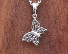 """Butterfly Necklace Pendant New Sterling Silver Jewelry Free Shipping 18"""" Chain"""