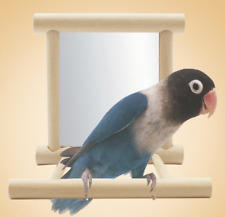 Parrot Wood Stand with Mirror Toys parrot Cockatiel Parakeet Birds Toys D373