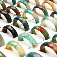 30Pcs Wholesale Ring Lots Natural Agate Gemstone Jewelry Band Rings Gift