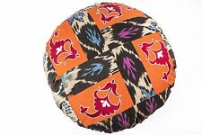 Round Suzani and Ikat Pillow Cover, Handmade, Fair Trade
