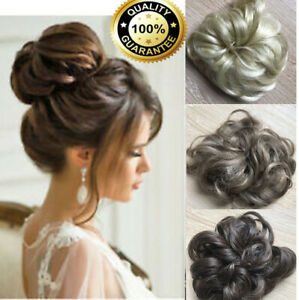 Natural Clip on in Messy Bun AS HUMAN HAIR Piece Extension Highlight Excellent
