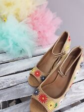 ASOS ORNAMENT Embroidered Peep Toe heels VERY GOOD CONDITION (S0/2)