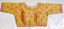 "38"" 40"" 42"" M Silk Saree Blouse Indian Bollywood Sari Choli Beige Pink Gold Y68"