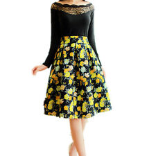 Womens High Waist Midi Skirt Check Flared Skater Casual Skirts Size 8-12 Blue Floral 8
