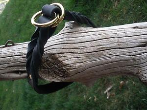 "BLACK LATIGO LEATHER 1"" X 25"" DOG SLIP/CHOKE COLLAR  X-HEAVY SOLID BRASS RINGS"