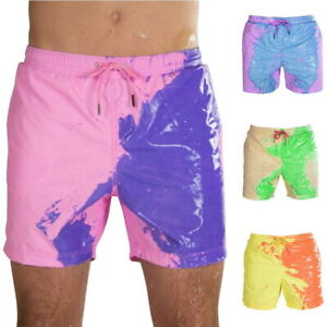 Color Changing Swim Trunks Temperature Sensitive Shorts Summer Beach Swimwear us