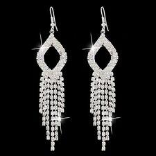 Silver Crystal Rhinestone Drop Earrings Fitness Model Comp Stage Bikini Dance