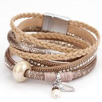 Fashion Women Bohemian Leather Rhinestone Pearl Ceramic Wrap Bracelet Jewelry