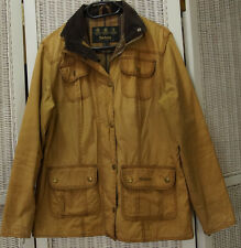 BARBOUR Waxed Cotton Jacket Flyweight Wax Utility UK12/M Tartan Lined Light Coat