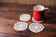 Set of 4 Handmade Crochet Round Coasters Old White Vintage Style Doily NEW