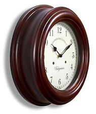 Traditional Wood Station School Retro Wooden Wall Clock 40cm dia. 12cm deep 1138