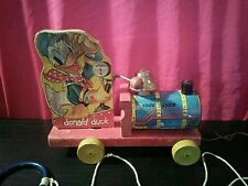 Vintage Antique 1940's Fisher Price Donald Duck Choo Choo Wooden pull toy #450